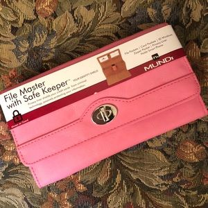 MUNDI Pink File Master with Safe Keeper Wallet NEW
